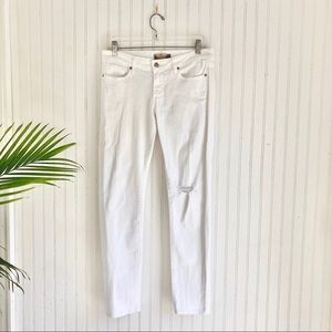 Paige Peg Skinny Jeans in White Distressed